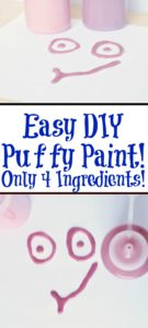 This Easy DIY Puffy Paint Recipe is perfect for kids!! Easy to make out of pantry ingredients its completely safe for kids to finger paint with too! Lots of fun textures plus you can add glitter in for a new look!