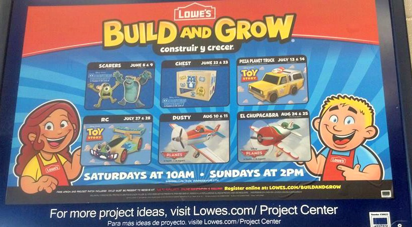 free lowes to build clinics disney planes in august