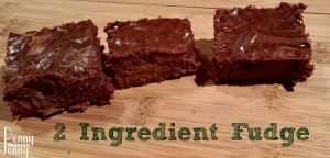 2 Ingredient Fudge is a quick and easy dessert to make!!! Plus its super frugal dessert to make as well since the ingredients can be gotten with coupons!