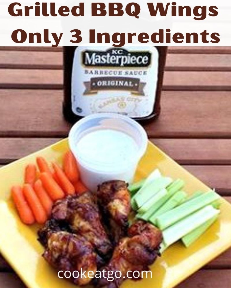 Grilled BBQ Wings are great for summertime grilling!! I love that these are only three ingredients and they are ingredients I have in my house as staples