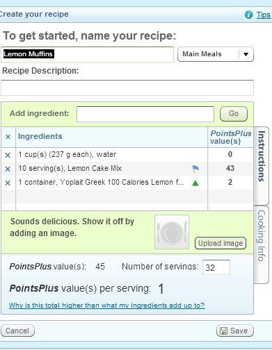 Puntos de muffins de los vigilantes del peso de limón más desglose