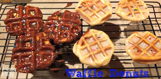 Waffle Donuts areso easy to make! They aren't fried and made on a waffle iron, top with icing and sprinkles to take them to the next doughnut level!