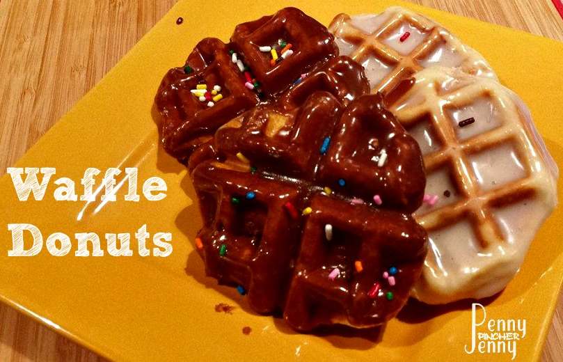 Waffle Donuts are so easy to make! They aren't fried and made on a waffle iron, top with icing and sprinkles to take them to the next doughnut level!