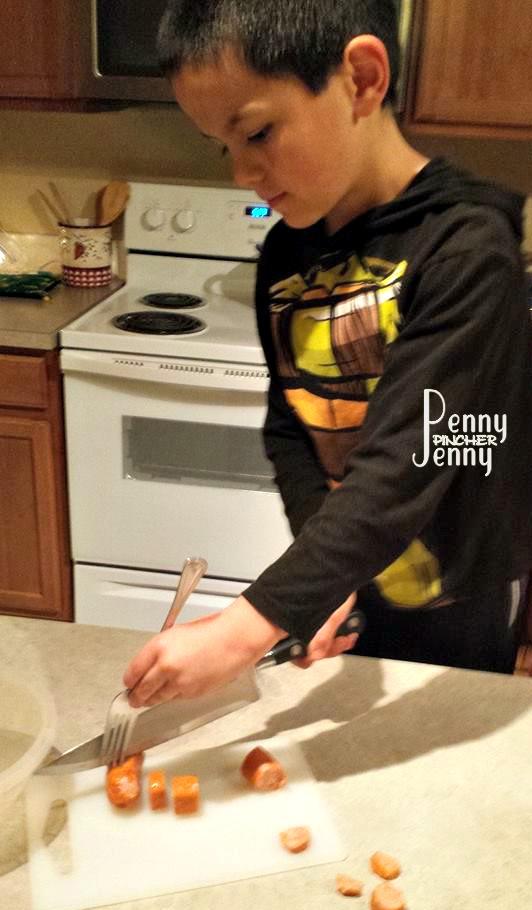 Michael Cutting Sausage