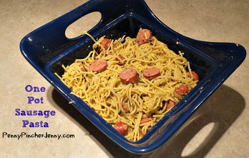 This One Pot Sausage Pasta was a hit with my kids and is a quick and easy frugal dinner with ingredients already in the pantry!