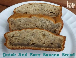 This is the best and easiest Banana Bread Ever!! It's so easy and turns out moist full of amazing flavor! You can add in nuts or chocolate chips as well.