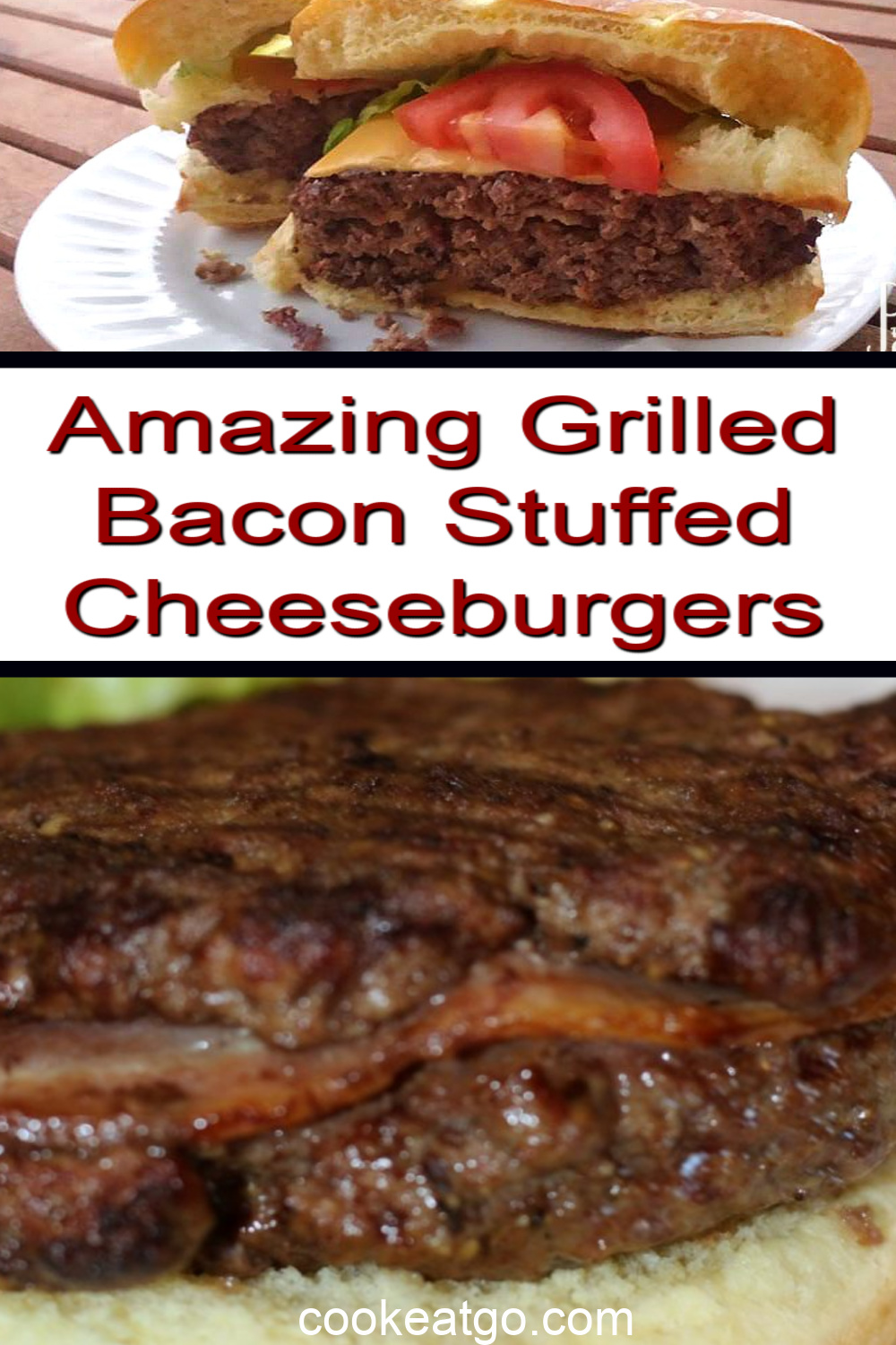Grilled Bacon Stuffed Cheeseburgers are the perfect burgers to make to celebrate summer and warm weather. They are easy to make when burger press and sure to be a hit at any bbq get together. Plus stuffing the bacon in the burger allows it to absorb the flavor into the burger.
