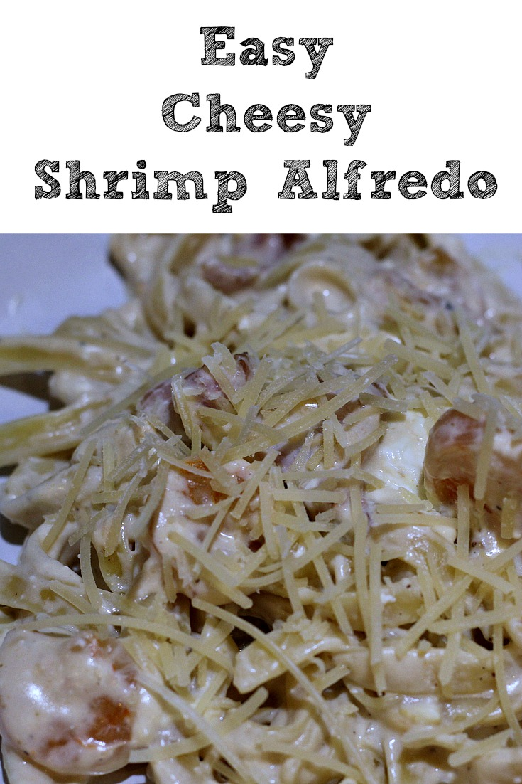 This Easy Cheesy Shrimp Alfredo Recipe is a great easy dinner to make for your family. With a twist on cheeses and an addition of bacon, you can't go wrong!