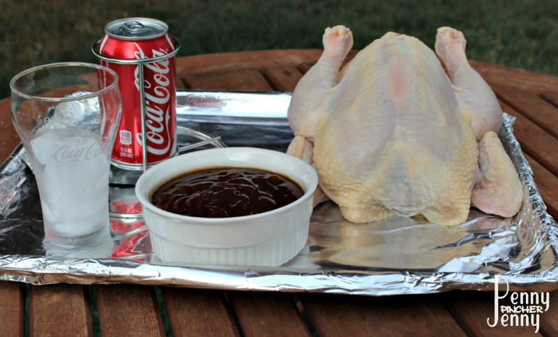 This Coca Cola Butt BBQ Chicken is so easy to whip up on the grill plus tastes amazing! It makes a great quick and frugal dinner to make in the summer.