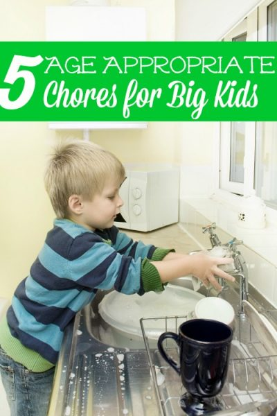 These 5 Age Appropriate Chores for Big Kids are a great way to build hard work ethic in your kids and also have them help around the house.