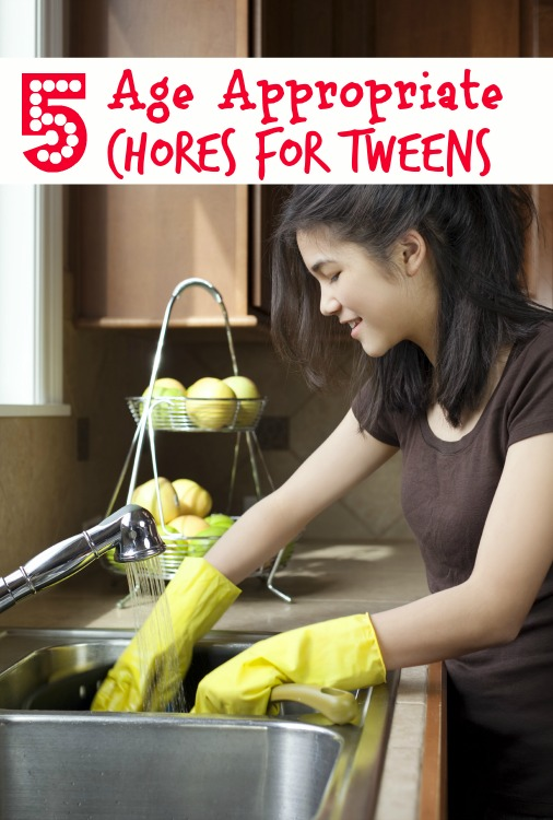 These 5 Age Appropriate Chores for Tweens  are a great way to have your tween earn chore money and learn some responsibility.