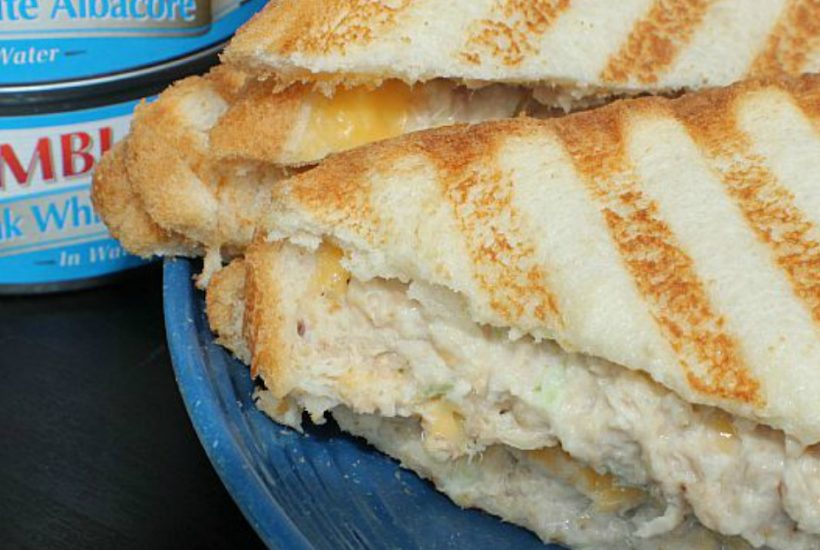 This Cheesy Tuna Panini sandwich is a perfect quick lunch! Easy to make and can be made low calorie for a healthy meal option too!