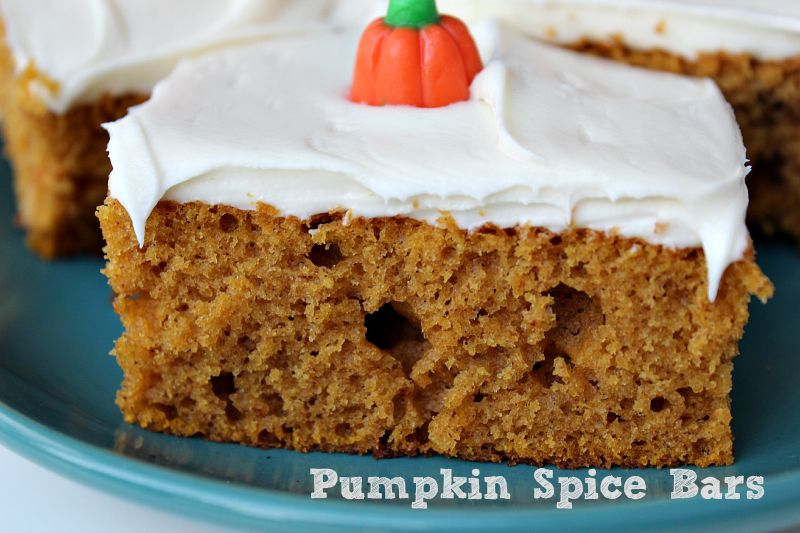 Pumpkin Spice Bars and homemade cream cheese frosting are a huge tradition in our family! They are perfect for any family get together and they make a great breakfast too as well.
