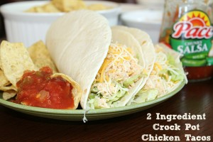 These 2 Ingredient Crock Pot Chicken Tacos are the perfect dinner for a crazy school night. My kids loved these and they were super easy to make.