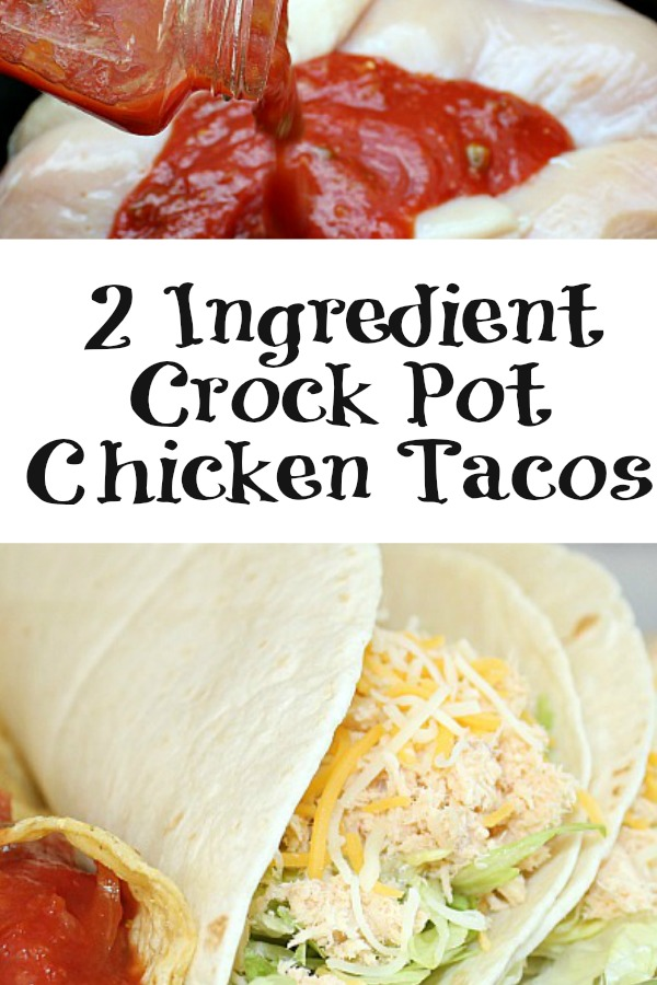 These 2 Ingredient Crock Pot Chicken Tacos are the perfect dinner for a crazy school night. Plus the meat is zero Weight Watchers Smart point for the tacos!