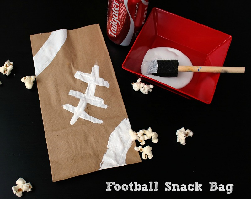 This football snack bag is perfect for the kids for snacking while watching the big game!