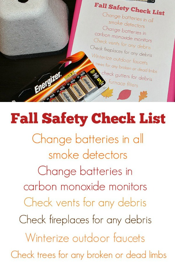 Use this free Fall Safety Checklist to make sure your home is ready for the fall season and the upcoming winter season! Fresh batteries in smoke alarms!