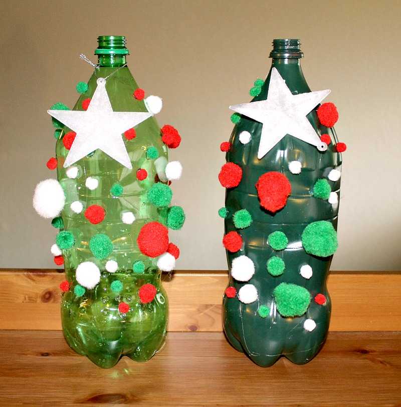 This 2 Liter Bottle Christmas Tree Craft is a great way to up-cycle your 2 liter bottles and a ton of fun for the kids to make as well as fun!