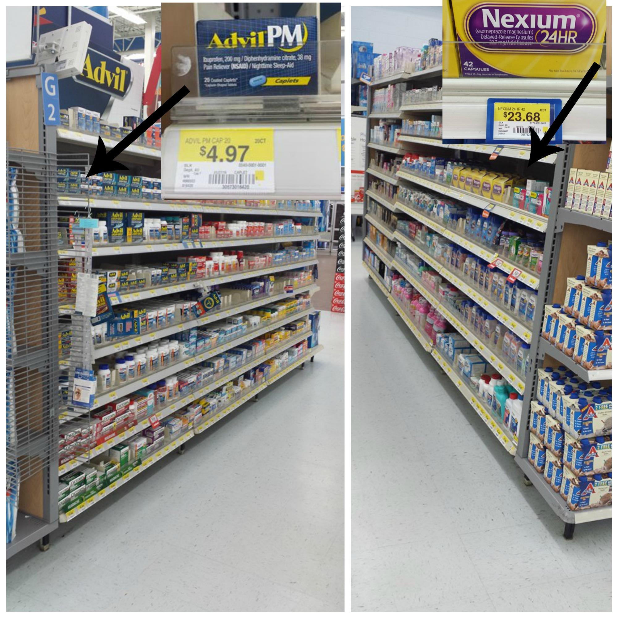 Nexium and Advil PM at Walmart