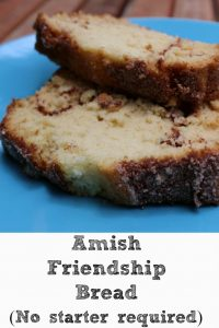 This Amish Friendship bread is the perfect treat to make and share with friends! Plus with no starter kit required you can make it anytime!