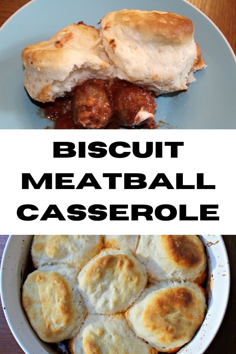 This Biscuit Meatball Casserole is so easy to make for dinner and the kids are sure to love it as well!! Perfect for a school night frugal dinner!