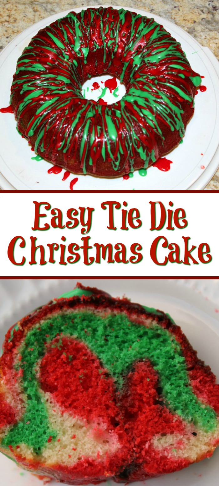 This Christmas Tie Dye Cake is a great way to get in the holiday mood! The colors are bright and it's the perfect dessert for a family dinner or potluck.