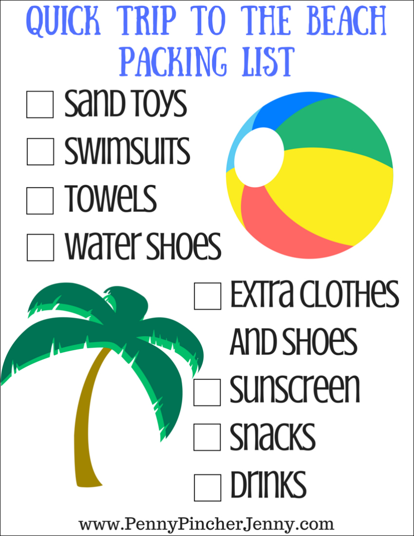 This quick trip to the beach printable is the perfect way to make sure you don't forget to pack any of the essential needs for the beach!