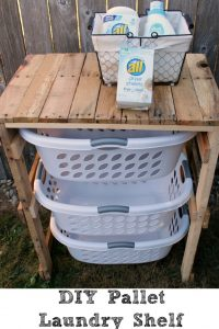 This DIY Pallet Laundry Shelf is a simple way to get organized for laundry!! plus it is easy to make as well out of pallets for a rustic look!