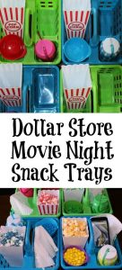 These Movie Night Popcorn trays is a great way to have snacks for each kid! Grab containers at the Dollar Store and fill up with their favorite movie snacks!