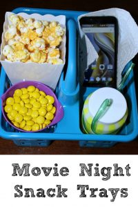 This Movie Night snack tray is a great way to have snacks and colored popcorn during a movie!