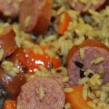 This Easy Sausage Rice Skillet Dinner is perfect to make with your kids! I love spending time in the kitchen with my kids and teaching them to cook!