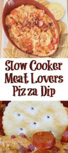 This Slow Cooker Meat Lovers Pizza Dip is the perfect dip to make for tailgating!! A fun twist on pizza with no prepwork required for gettogethers.