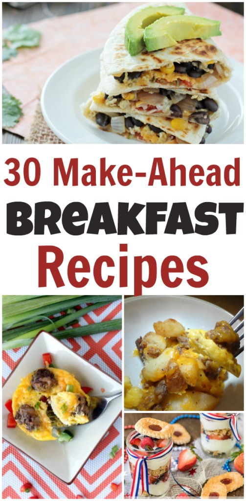 These Make Ahead Breakfasts are a great way to save time on a school day or a busy weekend!!! Being prepared and eating breakfast is important to success!