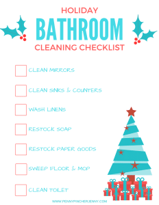 This Bathroom Cleaning Checklist is the perfect way to make sure that your bathroom is guest ready for the holiday season this year!