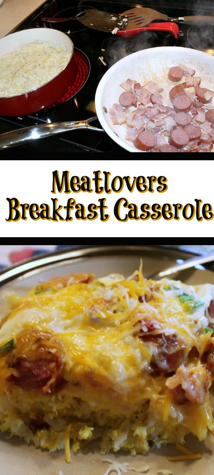 This Meatlovers Breakfast Casserole is sure to be a hit with your whole family!! Easy to make and very filling perfect for a family brunch! Also makes an amazing holiday breakfast as well!!