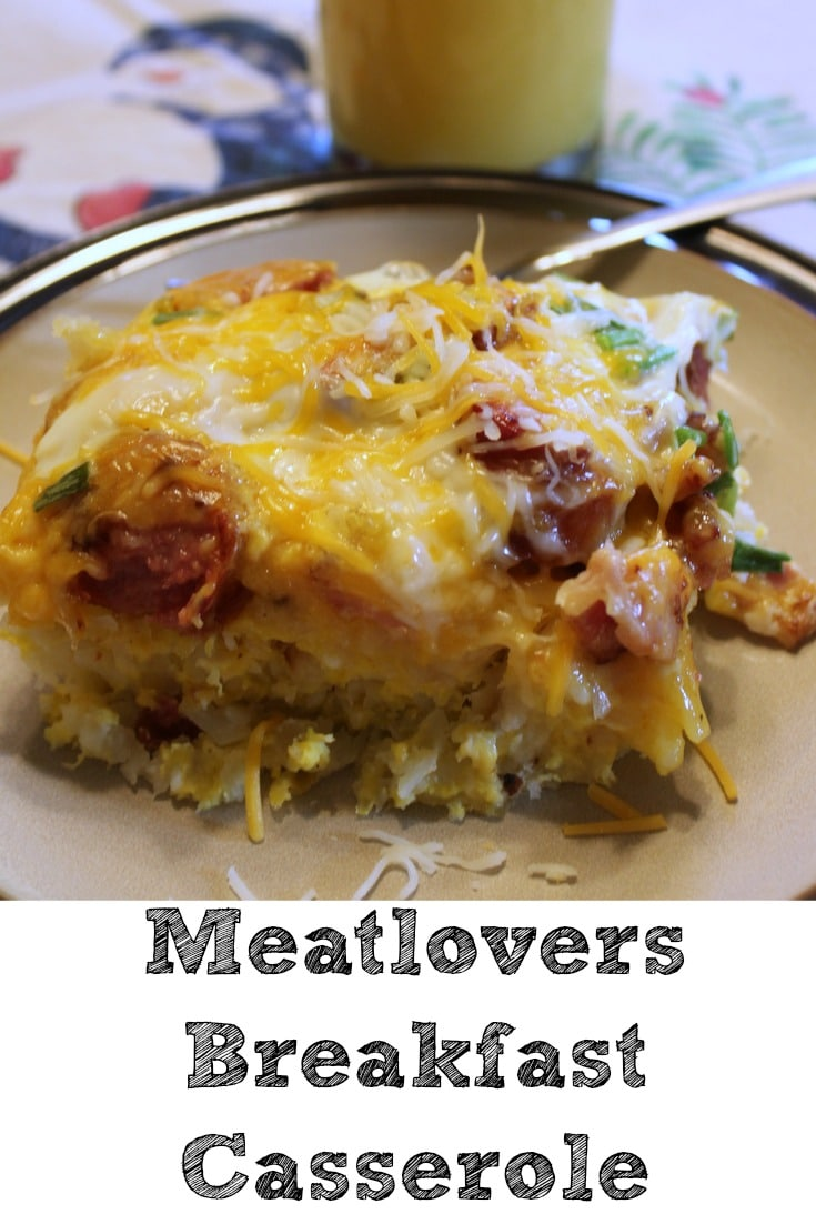 This Meatlovers Breakfast Casserole is sure to be a hit with your whole family!! Easy to make and very filling perfect for a family brunch!