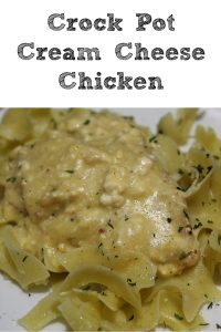 This Crock Pot Cream Cheese Chicken with only four ingredients is easy to make for a busy school night and serves well with pasta or rice!