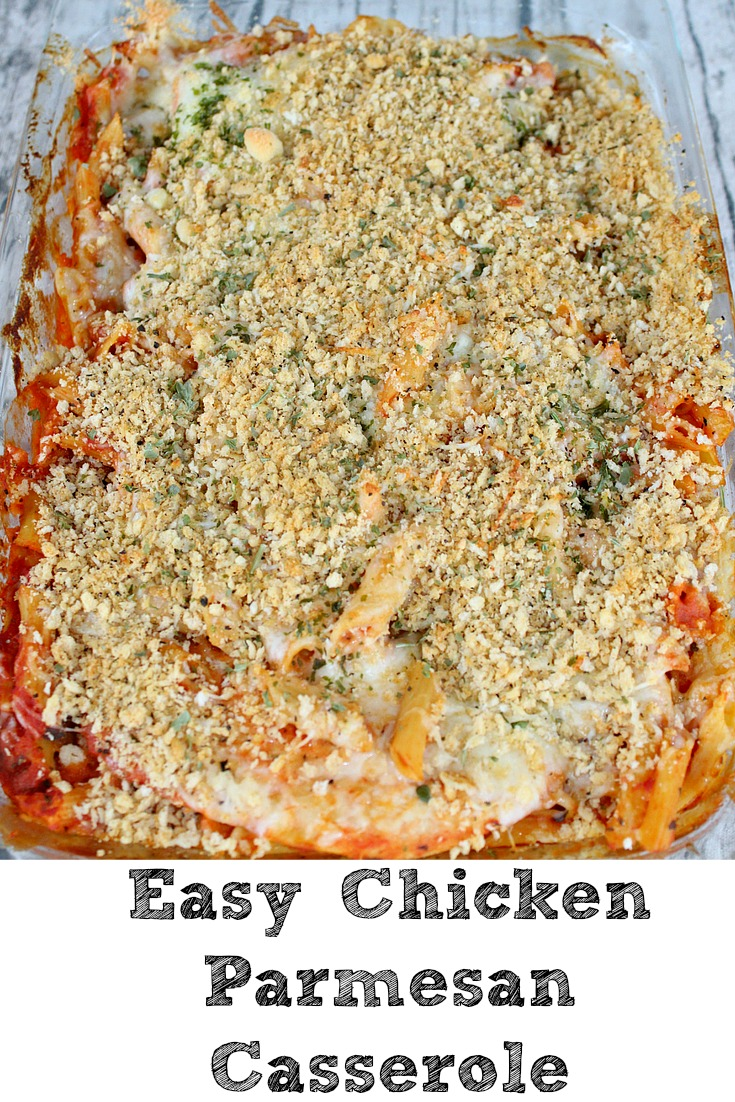 This Easy Chicken Parmesan Casserole perfect for any crazy weeknight! Just dump into a casserole pan and bake for an easy dinner the whole family will love!