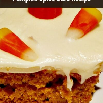 Pumpkin Spice Bars Recipe with homemade cream cheese frosting is perfect for fall! Family get together, holidays, and makes a great breakfast too as well.
