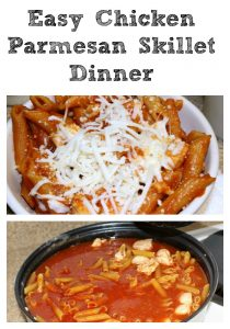 This Chicken Parmesan Skillet dinner is a perfect weeknight dinner to make that the whole family will love! Plus it's a frugal dinner to save money as well.