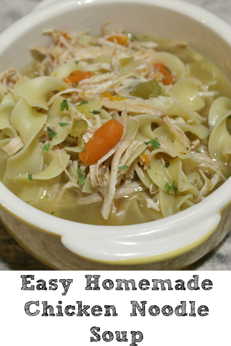 Easy Stove Top Homemade Chicken Noodle Soup perfect frugal winter meal. Also it's perfect to make for when feeling ill as well. Full of flavor and filling!