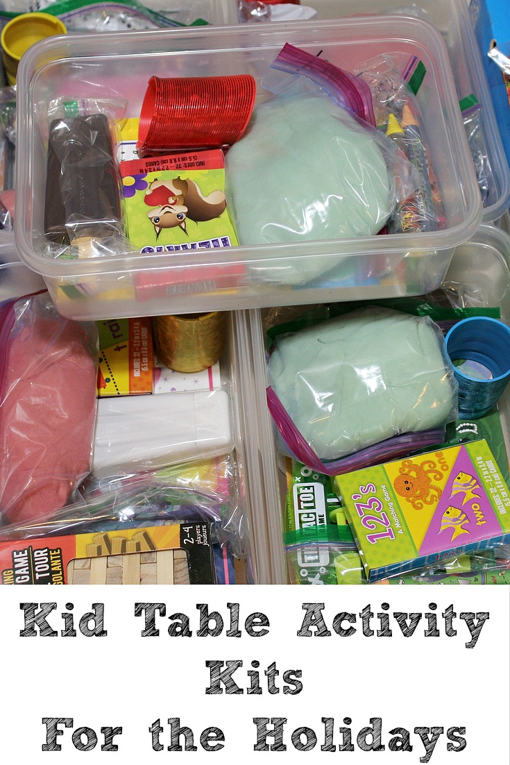 These Kid Table Activity Kits For Holiday Gatherings are easy to make!! Plus they pair up great with a Homemade Play Dough Recipe!