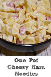 These Easy One Pot Cheesy Ham Noodles is perfect quick night dinner to make that the kids will love!! Plus it only requires one dish and is budget friendly.