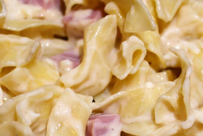 Easy One Pot Cheesy Ham Noodles