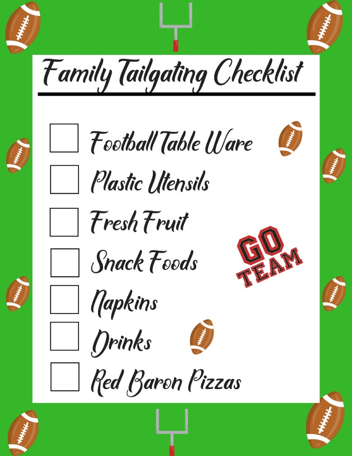 This Family Tailgating checklist will be the perfect way to make sure you have all your essentials for some fun Family Tailgating and make setup easy!