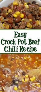 This Easy Crock Pot Beef Chili is a huge hit with the whole family!! Just dump everything in and cook on low for an amazing frugal winter dinner!