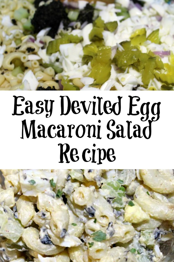 This Easy Deviled Egg Macaroni Salad is perfect to make up at home to take to a potluck or any family dinner. Plus it's frugal and cheaper than buying on on the way to the event, and very easy to customize!
