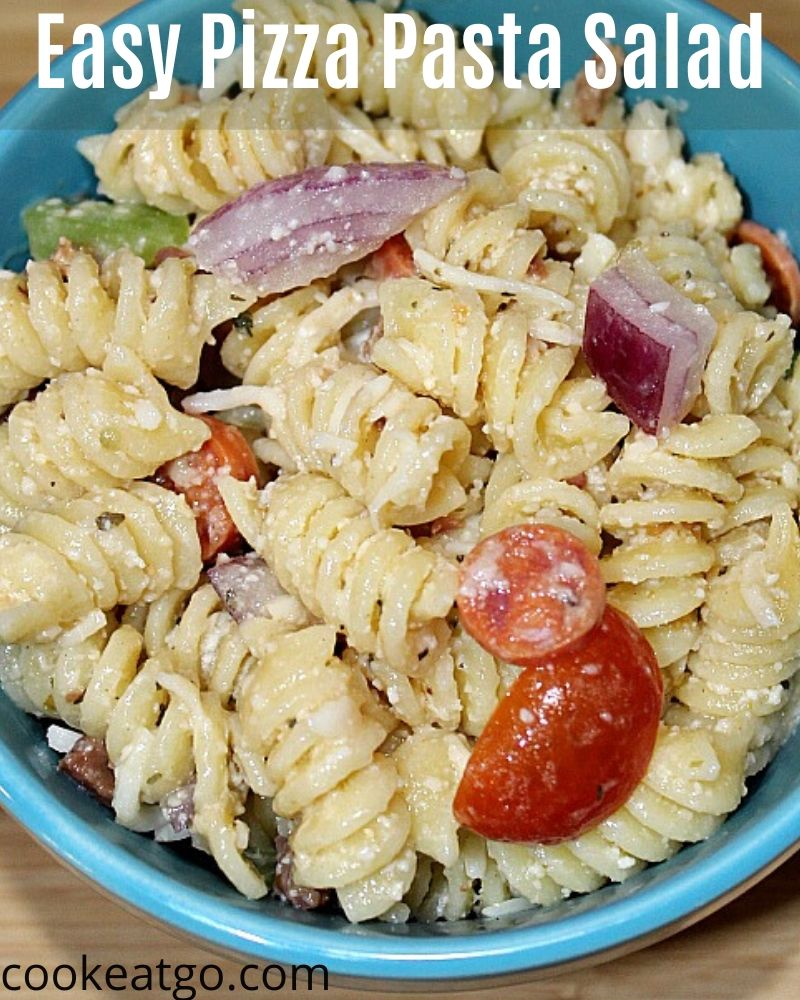 This Easy Pizza Pasta Salad is perfect to make to pair up with any dinner! Plus it is the perfect pot luck or tailgating appetizer to make up.