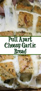 This Pull-Apart Cheesy Garlic Bread is perfect to pair up with pizza or as an appetizer just by itself for holidays, game night, or tailgating! So easy to make using a round sourdough loaf!