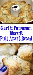 This Garlic Parmesan Biscuit Pull Apart Bread is so quick and easy made from biscuits!! Perfect to serve up with any pasta dish that you make at home and taste amazing!